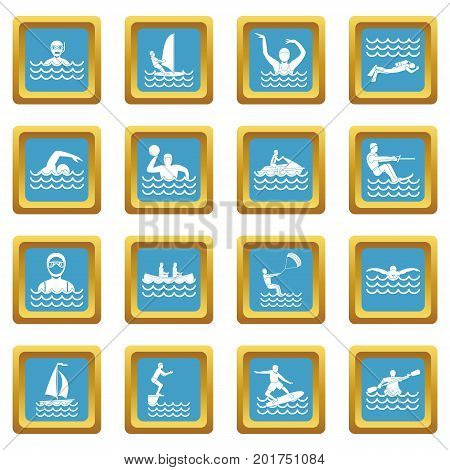 Water sport icons set in azur color isolated vector illustration for web and any design