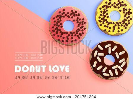 Donuts with pink, yellow and chocolate glaze fallin. Text donut love. Vector background, horizontal banner