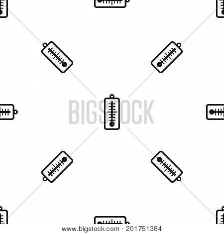 Thermometer indicates low temperature pattern repeat seamless in black color for any design. Vector geometric illustration