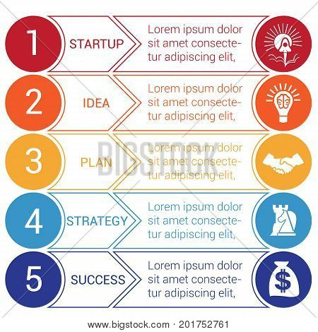 Startup bussines minimal infographic templates from circles and horizontal colorful arrows 5 positions