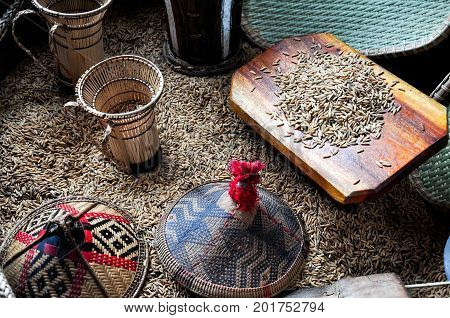 Miniatures Of Traditional Paddy Harvesting Tools And  Accessories In Sabah Borneo, Malaysia. Contain