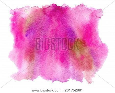 Pink watery spreading illustration.Abstract watercolor hand drawn image.Purple splash.White background.