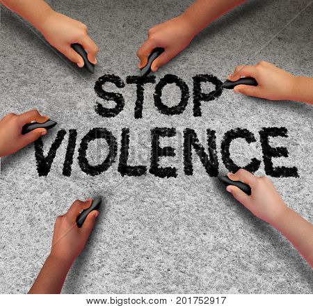 Stop violence concept and prevent an assault as a group of children hands drawing criminal violent aggression text on pavement in a 3D illustration symbol.