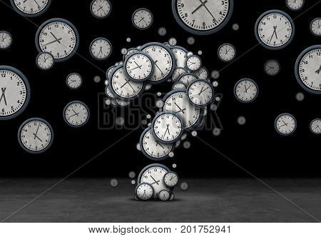Time questions concept as a group of floating clocks and timepieces shaped as a question mark as a metaphor for deadline or business schedule confusion or corporate appointment information as a 3D illustration on black.
