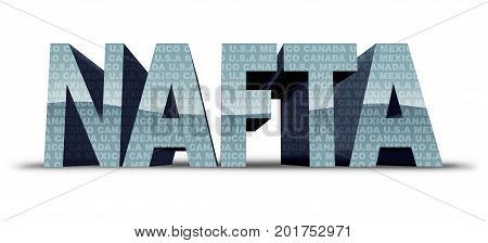 North American free trade agreement or nafta with United States Mexico and Canada as a trade deal negotiation and economic deal fot the American Mexican and Canadian governments as a 3D illustration.
