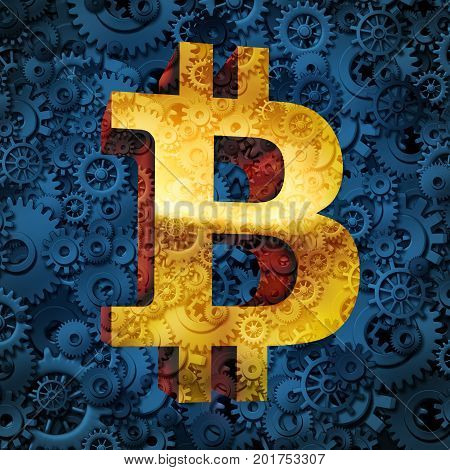 Bitcoin currency Business and symbol of cryptocurrency digital internet currency economic concept of online electronic money in a financial trade or transaction from a banking database market as a 3D illustration.