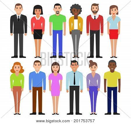 Group of working people standing on white background. Diverse set of cartoon people. Business men and business women in flat design people characters.