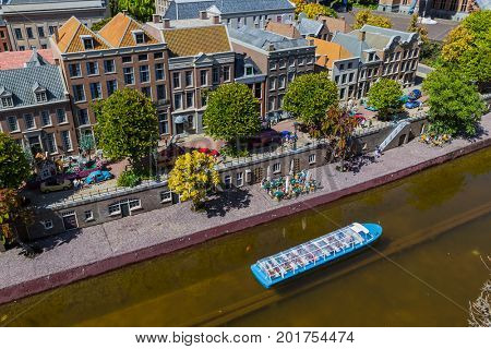The Hague, Netherlands - April 26, 2017: Utrecht in Madurodam miniature park in The Hague.