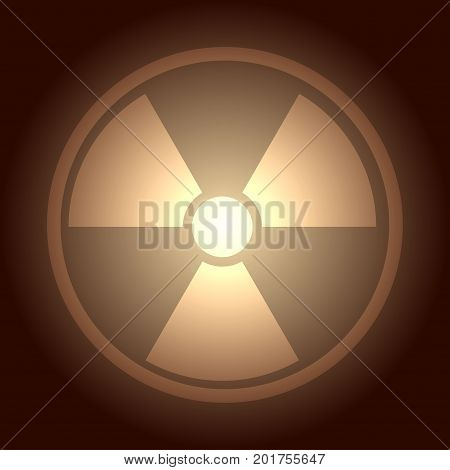 Glow button with radiation symbol, vector illustration