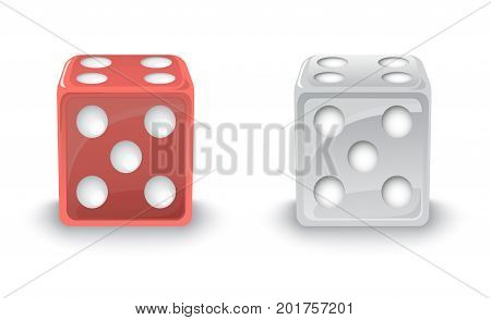 Red and Silver Dice with shadows on a white background stock illustration. EPS 10