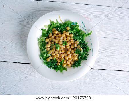 Lebanese Chickpea Balila close up homemade meal