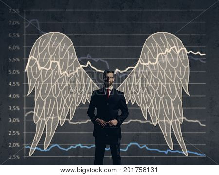 Business angel standing over diagram background. Business, investment, sponsoring, concept.