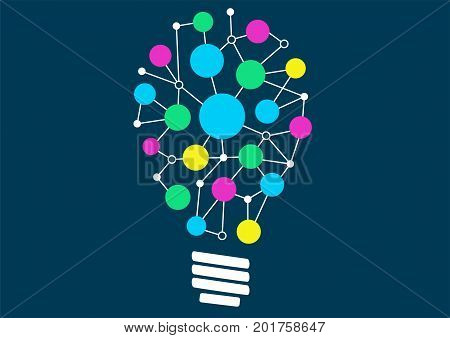 Vector illustration of light bulb with network of different objects or ideas. Concept of ideation or creativity.