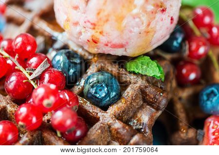 Chocolate Belgium Waffles With Berries And Nice Cream