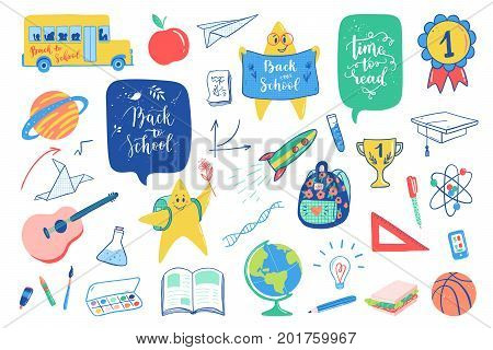 Back To School Doodles Elements Set. Vector Quote Back To School, Time To Read With School Bus, Plan