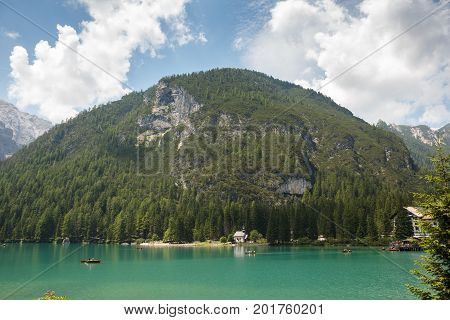 lago di Braies or Pragser Wildsee beautiful lake in Italy