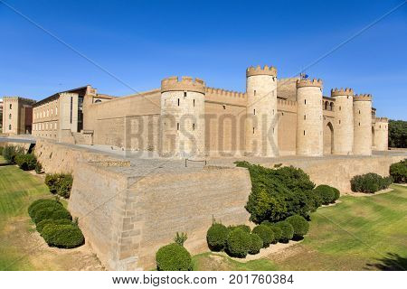 a view of the Aljaferia Palace in Zaragoza, Spain, a fortified medieval Islamic palace built during the eleven century