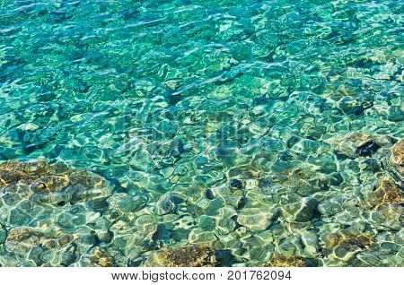 Rocky sea floor visible through crystal clear turqoise water of Aegean sea in Sithonia, Greece