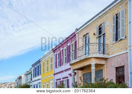View on colorful colonial houses in the streets of Valparaiso - Chile