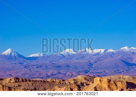 View on purple volcano at the border to Bolivia by San Pedro de Atacama