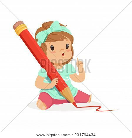 Cute little girl sitting on the floor and writing with a giant red pencil cartoon vector Illustration on a white background