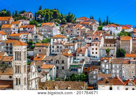 Aerial architectural view at old town Hvar, famous tourist resort in Croatia, Europe.