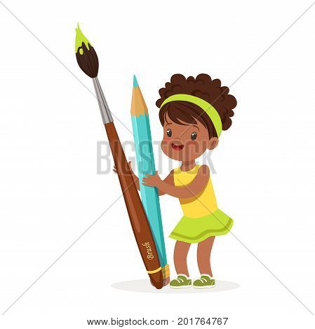 Cute black little girl holding giant light blue pencil and paintbrush cartoon vector Illustration on a white background