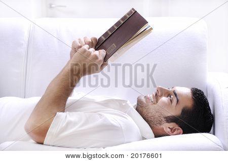 Reading Book In Home Interior