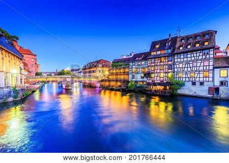 Strasbourg Alsace France. Traditional half timbered houses and Saint Martin bridge of Petite France.