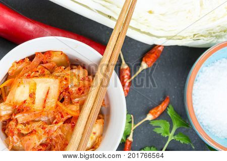 Kimchi. Fermented napa cabbage. Korean super food and ingredients