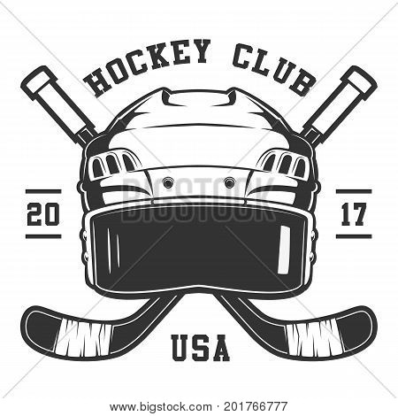 Hockey helmet on white background. Text is on the seprate layer.