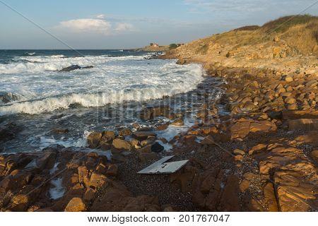 Sunset view of the rocks at the coastline of Chernomorets, Burgas region, Bulgaria