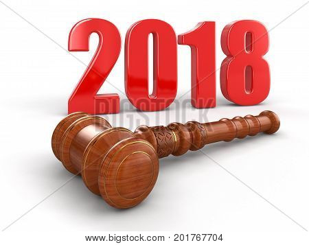 3D Illustration. 3d wooden mallet and 2018. Image with clipping path
