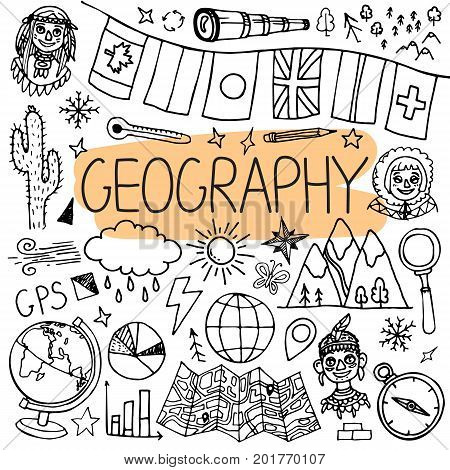 Hand drawn doodles for geography lessons. Vector back to school illustration on white background.
