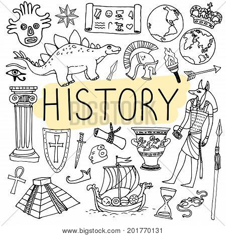 History hand drawn doodles. Vector back to school illustration on white background.