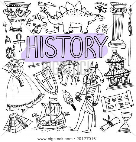Hand drawn doodles for history lessons. Vector back to school illustration on white background.