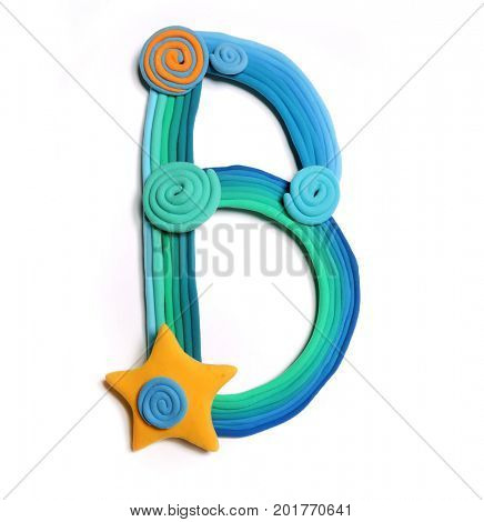 Plasticine letter B. Color plasticine alphabet, isolated. Blue and orange color of the alphabet
