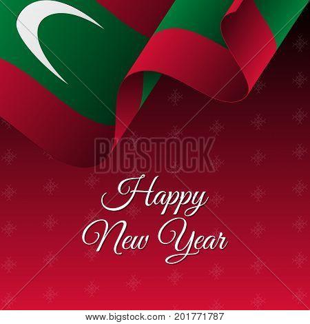 Happy New Year banner. Maldives waving flag. Snowflakes background. Waving flag. Vector illustration.