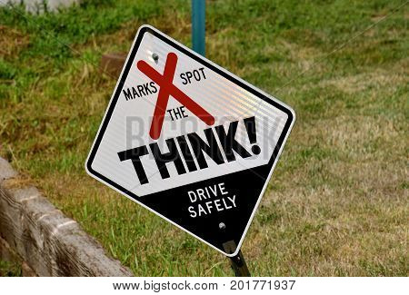 South Dakota Think Sign remembering a fatality at the scene  of a traffic accident