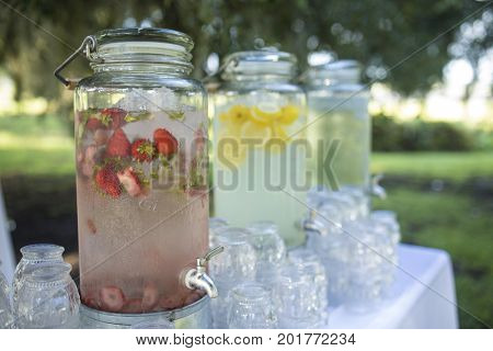 Cold fruit water at outdoor reception