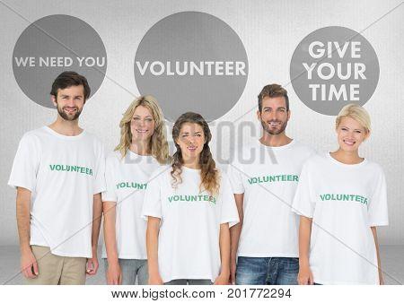 Digital composite of Group of volunteers standing in front of Volunteer graphics