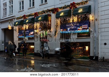 COPENHAGEN, DENMARK - NOVEMBER 5, 2016: Heidi's Beer Bar decorated for Christmas celebrations. It is positioned as an Austrian apres-ski bar just like in the Alps