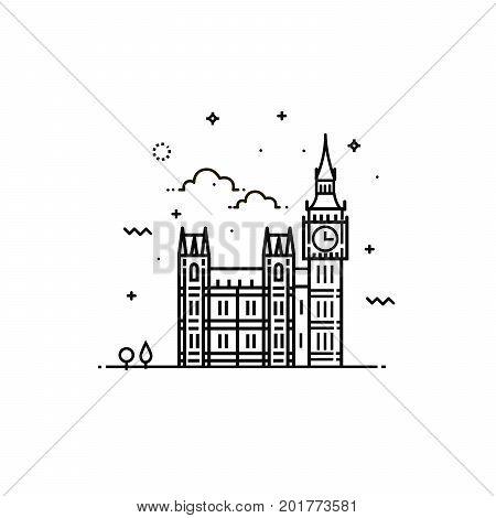 Big Ben icon. The symbol of London. Vector illustration.