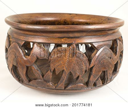 Handcrafted Carved brown Wooden Camel Textured Antique Pot