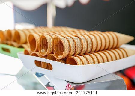 sugar waffle cone ice cream arranged in row, Blank, provision