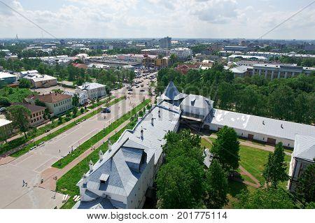 Kremlin Squarein Vologda Russia, Russian  summer  tourism