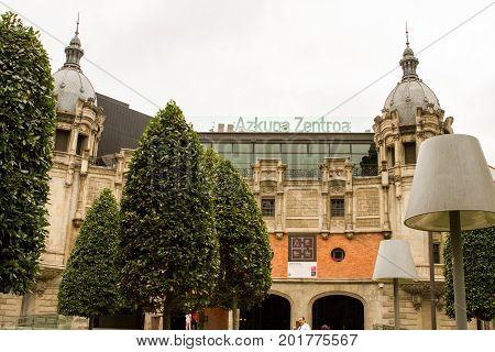 BILBAO - JULY 31: Azkuna Zentroa previously known as Alhóndiga Bilbao former wine warehouse transformed into multi-purpose contemporary centre by French designer Philippe Starck. Bilbao Basque Country Bizkaia Spain on July 21st 2017