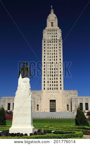 BATON ROUGE, LA - FEBRUARY 26: The art deco style state capitol building represents one of the more notable features of the Baton Rouge skyline February 26, 2017 in Baton Rouge, LA.