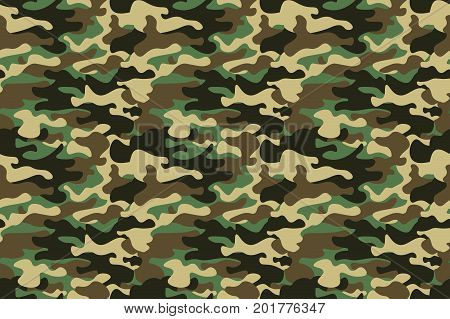 Camouflage Seamless Pattern Background. Horizontal Seamless Banner. Classic Clothing Style Masking C