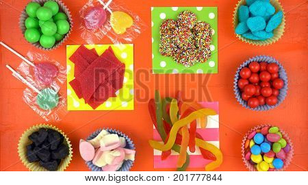 Halloween Trick Or Treat Candy Overhead Flat Lay.